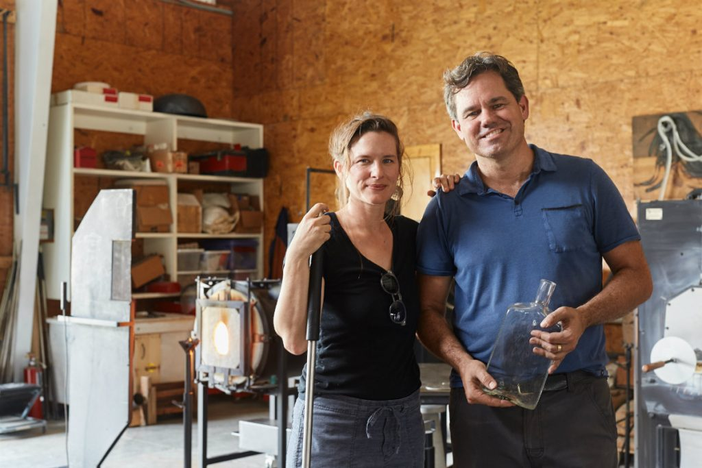 Melanie Miller and Casey Hyland of Hyland Miller glass studio in Kentucky